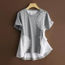 T-shirt Black, white S 85-100,M 100-115,L 115-130,XL 130-145 Spring 2021 Short sleeve Crew neck easy cotton 96% and above Splicing Other / other Pleats, lace, beads