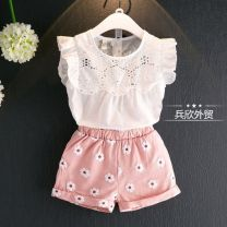 suit Other / other white 120cm,100cm,130cm,110cm,90cm female summer Korean version Sleeveless + pants 2 pieces routine No model A button nothing other Class B Three, seven