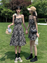 Dress Summer 2021 Long and short Average size longuette singleton  Sleeveless commute One word collar High waist Broken flowers Socket A-line skirt camisole 25-29 years old Type A Giovanti Korean version Frenulum B01273 More than 95% other Other 100% Pure e-commerce (online only)