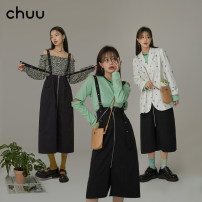 skirt Summer 2021 S M L Black pre-sale starts on May 5 Short skirt commute High waist A-line skirt Solid color Type A 18-24 years old BHP2201H More than 95% chuu cotton fold Korean version Cotton 100% Same model in shopping mall (sold online and offline)