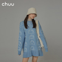 Dress Spring 2021 Don't shoot the blue reserved space Average size Short skirt singleton  Long sleeves commute Crew neck Loose waist Cartoon animation Socket Ruffle Skirt raglan sleeve Others 18-24 years old Type A chuu Korean version Ruffle thread BHB1204J 31% (inclusive) - 50% (inclusive)