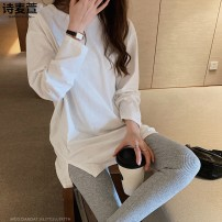 T-shirt White (regular) white (plush) S M L XL 2XL Winter 2020 Long sleeves Crew neck easy Medium length routine commute cotton 86% (inclusive) -95% (inclusive) 18-24 years old Korean version originality Solid color Shi maixuan SMX20QT757 Cotton 95% polyurethane elastic fiber (spandex) 5%