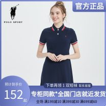 Dress Summer 2021 Navy, Navy g, red a, Navy J, big red B, light navy u, green K, red C, deep navy R, red F, Navy T, big red I, gray blue s S,M,L,XL,2XL Middle-skirt singleton  Short sleeve street Polo collar middle-waisted Single breasted routine 25-29 years old Polo Sport More than 95% knitting