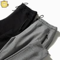 Casual pants Others other Black 8503 waist drawstring pants, grey 8503 waist drawstring pants XL,2XL,3XL,L,M routine trousers Other leisure Straight cylinder Micro bomb autumn 2020 Medium high waist Cotton 100% Sports pants Solid color cotton