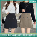 skirt Winter 2020 M,L,XL,2XL,3XL,4XL Black, Khaki Short skirt commute High waist A-line skirt Solid color Type A 25-29 years old Hi 009 51% (inclusive) - 70% (inclusive) other polyester fiber Pleating, tridimensional decoration, buttons Korean version