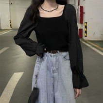 Wool knitwear Spring 2021 Average size black other 51% (inclusive) - 70% (inclusive) have cash less than that is registered in the accounts square neck Solid color 6834 flared sleeve T-shirt