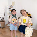 T-shirt Smiling face, cartoon man Other / other 120cm,130cm,140cm,100cm,90cm,110cm neutral summer Short sleeve Crew neck Korean version There are models in the real shooting cotton Cartoon animation Class B hygroscopic and sweat releasing