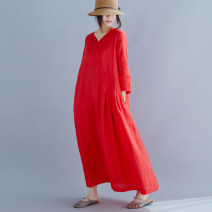 Dress Summer of 2019 Red, customize other colors or sizes Average size longuette singleton  three quarter sleeve Sweet V-neck Loose waist Solid color Three buttons other routine Others Type A 2019X7 More than 95% other hemp Mori