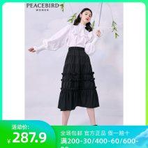 skirt Summer 2021 S,M,L Black, black (presale 2), black (presale 1) Mid length dress Retro High waist Cake skirt Type A 25-29 years old AWGFB2187 71% (inclusive) - 80% (inclusive) Peacebird polyester fiber