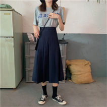 skirt Winter 2020 M,L,XL,2XL,3XL,4XL Navy blue, black Mid length dress Versatile High waist Pleated skirt Solid color Type A 18-24 years old other other