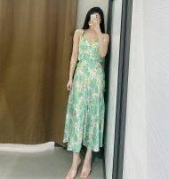 Dress Spring 2021 green XS,S,M,L TRAF
