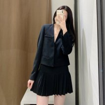 suit Spring 2021 Black suit, black shorts skirt XS,S,M,L Long sleeves routine tailored collar commute routine Solid color TRAF