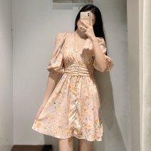 Dress Spring 2021 Decor XS,S,M,L Short skirt singleton  Short sleeve V-neck High waist Decor Socket TRAF printing