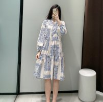 Dress Spring 2021 Blue and white XS,S,M,L TRAF