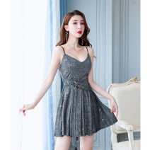 Dress Autumn of 2019 White black S M L XL 2XL 3XL Short skirt Short sleeve commute V-neck High waist Socket Princess Dress 25-29 years old Type A Dugeborg Korean version More than 95% polyester fiber Polyester 97% polyurethane elastic fiber (spandex) 3% Pure e-commerce (online only)