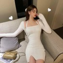 Dress Spring 2021 Blue, cream, orange S,M,L Short skirt Two piece set Long sleeves commute square neck High waist Solid color Socket One pace skirt routine Breast wrapping 18-24 years old Type H Korean version backless More than 95% knitting cotton