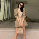 Dress Winter 2020 Apricot dress S M L XL Short skirt singleton  Long sleeves commute tailored collar Elastic waist other Irregular skirt routine Others 18-24 years old Type A Confident girl Korean version Frenulum CG003155 More than 95% other other Other 100% Pure e-commerce (online only)