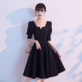 Dress / evening wear Weddings, adulthood parties, company annual meetings, daily appointments XS S M L XL XXL customized non refundable non exchangeable + 30 yuan Korean version Short skirt middle-waisted Summer 2020 Skirt hem Deep collar V zipper 18-25 years old AT20019 elbow sleeve Solid color