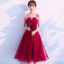 Dress / evening wear Weddings, adulthood parties, company annual meetings, daily appointments XS S M L XL XXL XXXL claret Korean version Medium length middle-waisted Summer 2021 Self cultivation Sling type Bandage 18-25 years old AT20152 Sleeveless Nail bead Solid color Yuanting routine Other 100%