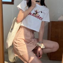 T-shirt White short black short white long black long M L XL XXL Spring 2021 Short sleeve Crew neck easy have cash less than that is registered in the accounts routine commute polyester fiber 51% (inclusive) - 70% (inclusive) 18-24 years old Korean version originality letter Butterfly Pavilion