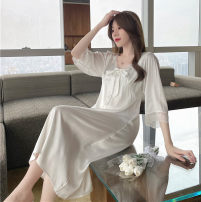 Nightdress Other / other S,M,L,XL luxurious three quarter sleeve Leisure home Middle-skirt summer Solid color youth V-neck Iced silk lace More than 95% silk