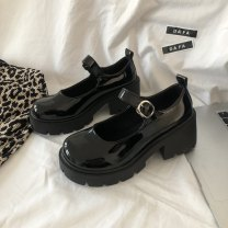 Low top shoes 35,36,37,38,39 Other / other Bright black (over half size), matte black (over half size) Round head PU Thick heel Middle heel (3-5cm) Shallow mouth PU Spring 2021 Flat buckle Korean version Adhesive shoes Youth (18-40 years old) Solid color rubber Single shoes waterproof PU