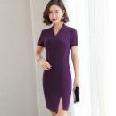 Dress Summer 2020 Purple, black S,M,L,XL,2XL,3XL,4XL,5XL longuette singleton  Short sleeve commute V-neck middle-waisted Solid color Socket One pace skirt other Others 25-29 years old T-type 81% (inclusive) - 90% (inclusive) other polyester fiber