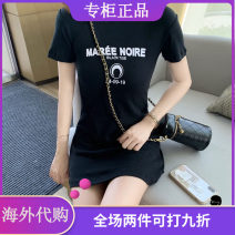 Dress Autumn 2021 Black, white, blue, red 155/80A,160/84A,165/88A Short skirt singleton  Short sleeve commute Crew neck High waist letter Socket A-line skirt routine 18-24 years old Type A More than 95% cotton