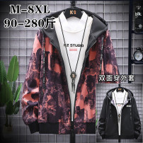 Jacket Other / other Youth fashion M,L,XL,2XL,3XL,4XL,5XL,6XL,7XL,8XL routine standard Other leisure autumn A5 Polyester 100% Long sleeves Wear out Hood tide Large size routine Zipper placket 2020 Rib hem No iron treatment Closing sleeve polyester fiber printing Side seam pocket polyester fiber