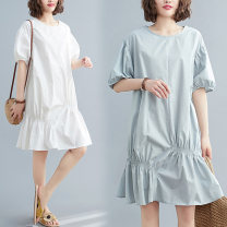 Women's large Summer 2020 Light blue, white L [100-150 Jin], XL [150-200 Jin] Dress singleton  commute easy Socket Solid color literature Crew neck Medium length Polyester, cotton fold four point two two Other / other Medium length Irregular skirt