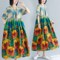 Women's large Summer 2021 Sunflower Dress singleton  commute easy Socket Short sleeve Decor ethnic style Crew neck Medium length Polyester, cotton printing and dyeing routine Other / other Medium length other