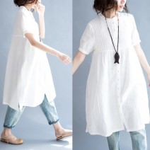 Women's large Summer 2021 white Average size [100-180 Jin] Dress singleton  commute easy Cardigan Short sleeve Solid color literature stand collar Medium length Cotton, hemp routine Other / other Button Medium length other