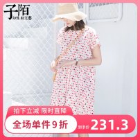 Dress Summer of 2019 S,M,L,XL Mid length dress singleton  Short sleeve commute Crew neck middle-waisted Dot Socket 25-29 years old Zi Mo literature printing cotton