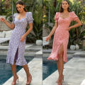 Dress Autumn 2020 Purple, pink 6,8,10,12,14,16 longuette singleton  Short sleeve commute square neck High waist Solid color Socket One pace skirt routine 25-29 years old Type H fold More than 95% other