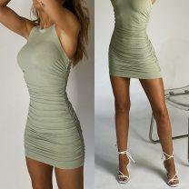 Dress Summer 2020 6,8,10,12,14,16 Short skirt singleton  Sleeveless High waist Solid color Socket One pace skirt routine polyester fiber
