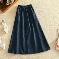 skirt Autumn 2020 S M L XL 2XL Navy apricot longuette commute High waist A-line skirt Solid color Type A 18-24 years old UJ1HA_ one trillion and six hundred and fourteen billion fifty million eight hundred and five thousand nine hundred and forty-two other Chinese characters Splicing Korean version
