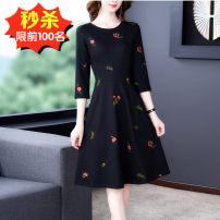 Dress Spring 2020 Black 8631 S,M,L,XL,2XL,3XL Mid length dress singleton  three quarter sleeve commute Crew neck middle-waisted Decor zipper A-line skirt routine Others 40-49 years old Type A Other / other lady Zipper, pocket, embroidery 81% (inclusive) - 90% (inclusive) brocade