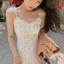 Women's large Summer 2021 Apricot S M L XL Dress singleton  commute Socket Retro One word collar 0329-02 Yingduo language 25-29 years old Medium length Polyester 100% Pure e-commerce (online only) other