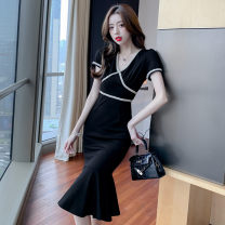 Women's large Korean version other other Summer 2021 commute singleton  Dress longuette 6175-01 Short sleeve Solid color V-neck Condom 25-29 years old Yingduo language other 51% (inclusive) - 70% (inclusive) Other 100% Pure e-commerce (online sales only) S M L XL black