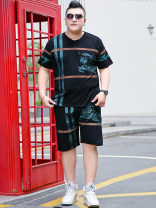 Leisure sports suit summer Black suit Short sleeve Other / other shorts Large size T-shirt Cotton ammonia 2020 Cotton 100%
