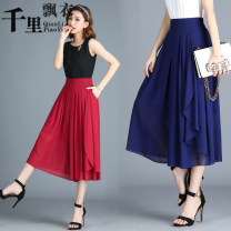 Casual pants 4XL,3XL,2XL,XL,L,M,S Spring of 2019 Ninth pants Wide leg pants High waist commute Thin money 25-29 years old 91% (inclusive) - 95% (inclusive) Korean version pocket