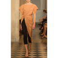 Dress Autumn 2020 Orange S,M,L Mid length dress singleton  Short sleeve street Crew neck High waist Solid color zipper Irregular skirt other Others Type X Asymmetric, resin fixation 31% (inclusive) - 50% (inclusive) Silk and satin Cellulose acetate Europe and America