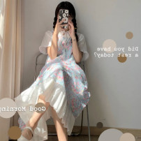 Women's large Summer 2021 White top + suspender dress S M L Two piece set Sweet Socket Short sleeve Solid flower routine Wu Ning 18-24 years old longuette Other 100% Pure e-commerce (online only) solar system