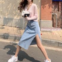 skirt Summer 2021 S,M,L,XL wathet Mid length dress commute High waist skirt Solid color Type A 18-24 years old Z1011 31% (inclusive) - 50% (inclusive) Other / other other pocket Korean version