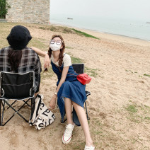 Dress Summer 2021 blue S,M,L Mid length dress singleton  Sleeveless commute High waist Solid color zipper A-line skirt straps 18-24 years old Type A Other / other Korean version Bowknot, hollow out, bandage J1297 31% (inclusive) - 50% (inclusive)