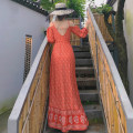 Dress Autumn 2020 Orange S,M,L longuette singleton  Long sleeves commute One word collar High waist Broken flowers Single breasted Irregular skirt routine camisole 25-29 years old Type A Xiaoyao holiday Retro Open back, button, print XYDJ00126 81% (inclusive) - 90% (inclusive) brocade cotton