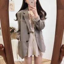 Fashion suit Spring of 2019 Average size Black suit coat, black skirt, khaki suit coat, beige shirt, apricot skirt, black shirt 18-25 years old Other / other 31% (inclusive) - 50% (inclusive) polyester fiber