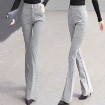 Casual pants Check [button zipper], check [side invisible zipper] S,M,L,XL,2XL Spring 2020 trousers Flared trousers High waist commute routine 25-29 years old nylon lady pocket nylon