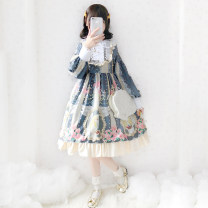 Dress Spring of 2019 Red OP dress, lake blue OP dress, black OP dress, beige OP dress, pink OP dress Average size Middle-skirt singleton  Long sleeves Crew neck Loose waist other Single row two buttons other other Others