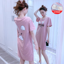 Nightdress Other / other 160(M),165(L),170(XL) Cartoon Short sleeve pajamas Middle-skirt summer Cartoon animation youth Crew neck cotton printing More than 95% SD093# 200g and below
